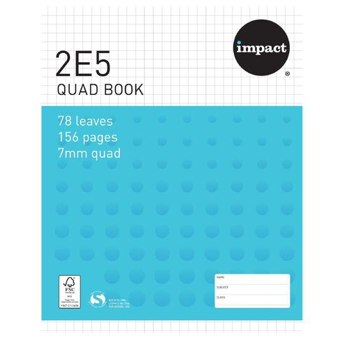 Impact Exercise Book 2E5 7mm Quad 78 Leaf