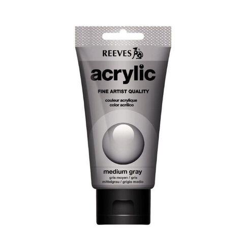 Reeves Acrylic Paint 75ml Medium Grey