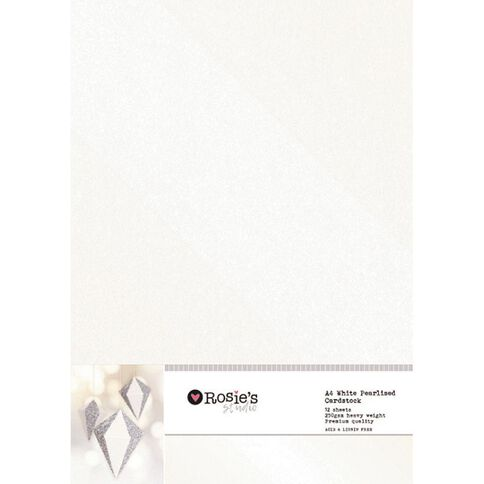 Rosie's Studio Value Cardstock Pearlised 250g 12 Sheet White A4