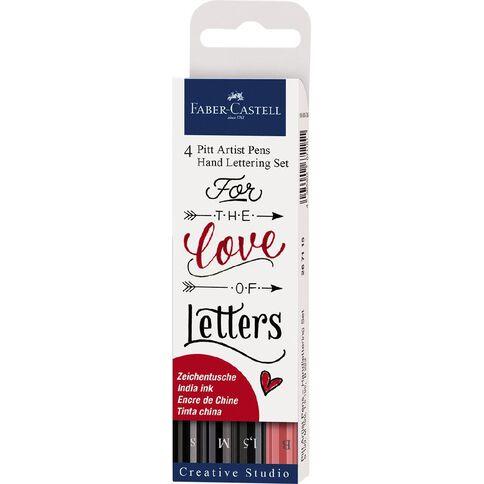 Faber-Castell Pitt Artist Pens Hand Lettering Set Love Letters 4 Pack