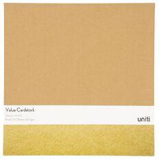 Uniti Value Cardstock 300gsm 10 Pack Kraft Brown 12in x 12in