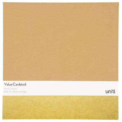 Uniti Value Cardstock 300gsm 10 Pack Kraft Brown 12in x 12in