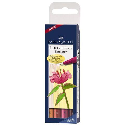 Faber-Castell 4 Pitt Artist Fineliner Pens Warm