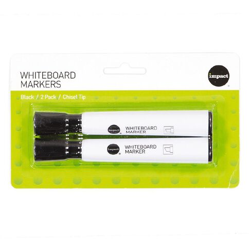 WS Whiteboard Markers Chisel 2 Pack Black