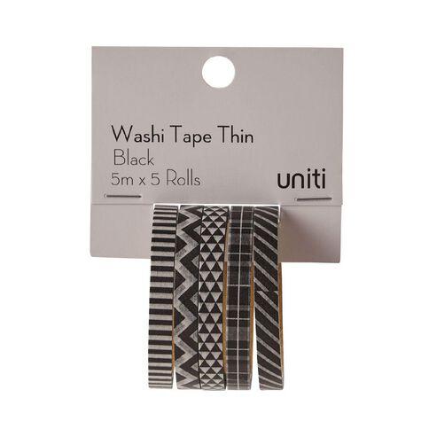 Uniti Washi Tape Thin 5 Pack Black