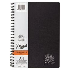 Winsor & Newton Visual Diary Heavy Spiral 200gsm A4 40 Sheets Black