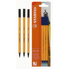 Stabilo Pen Point 88 Black 3 Pack Black