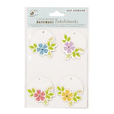 Little Birdie Bloomy Round Tags 4 Piece
