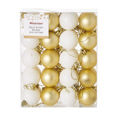 Wonderland Glitter & Glam Baubles Gold & White 4cm 40 Pack