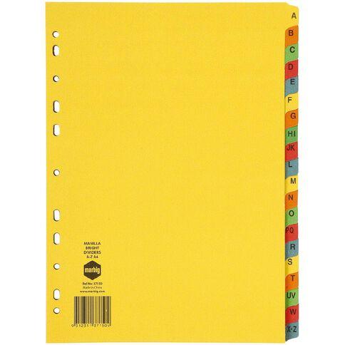 Marbig Dividers Manilla Brights A-Z Tab Multi-Coloured A4