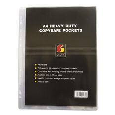 Office Supply Co Copysafe Pockets Heavy Duty PVC 5 Pack Clear A4