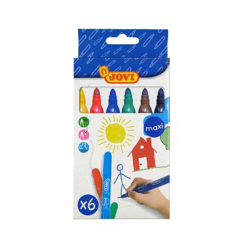 Jovi Washable Maxi Felt Tip Pen 6 Pack Multi-Coloured 6 Pack