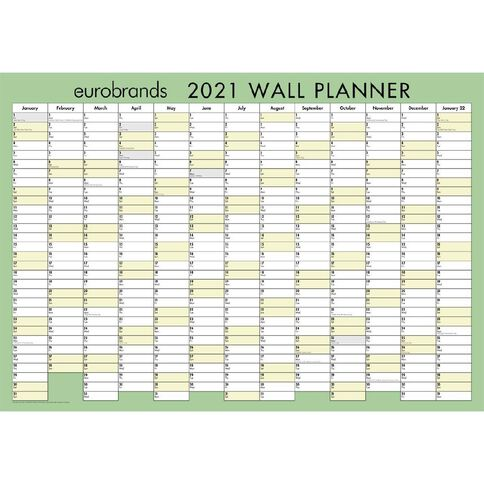 Eurobrands 2021 Wall Planner Laminated (420x600mm) A2