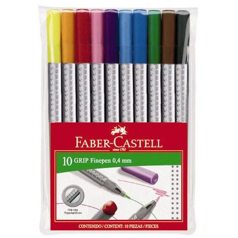 Faber-Castell Grip Fine Pen 0.4mm Wallet Of 10