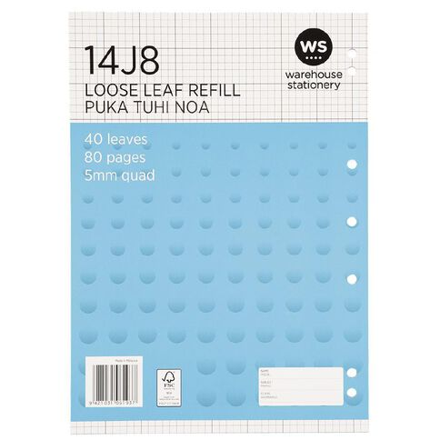 WS Pad Refill 14J8 5mm Quad 40 Leaf Punched