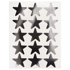 Quik Stik Labels Stars Large Silver