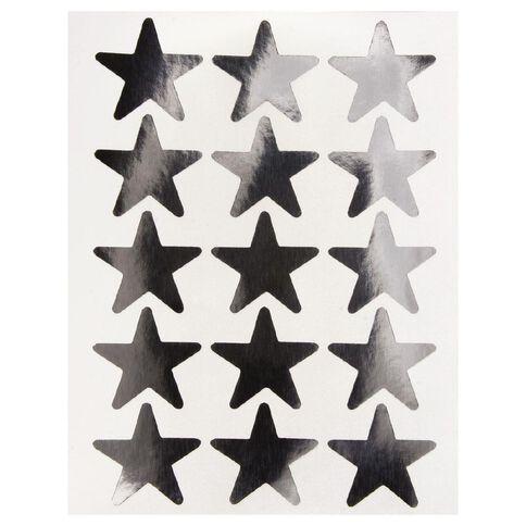 Quik Stik Labels Stars Large Silver