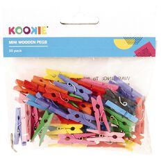 Kookie Mini Wooden Pegs Colour 50 Pack