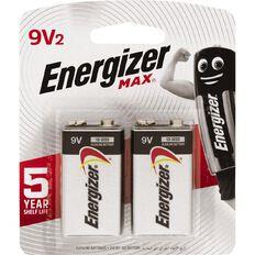 Energizer Max Alkaline Batteries 9V 2 Pack