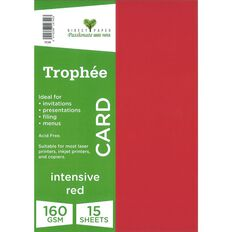 Trophee Card 160gsm 15 Pack Intensive Red A4