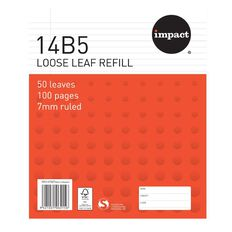 Impact Pad Refill 14B5 7mm Ruled 50 Leaf Red