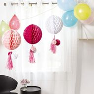 Party Inc Honeycomb Lantern with Tassels Pink 3 Pack