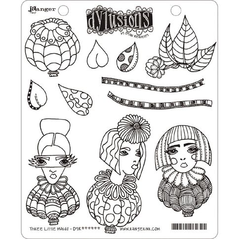 Ranger Dylusions Stamp Three Little Maids
