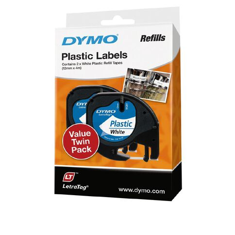 Dymo Letratag Plastic Labels White  2 Pack