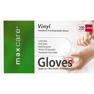 Maxcare Disposable Vinyl Gloves Powder Free Clear Large 100 Pack
