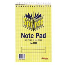 Spirax Notebook Spiral No.563B 300pg 8mm Ruled 200 x 127mm Yellow