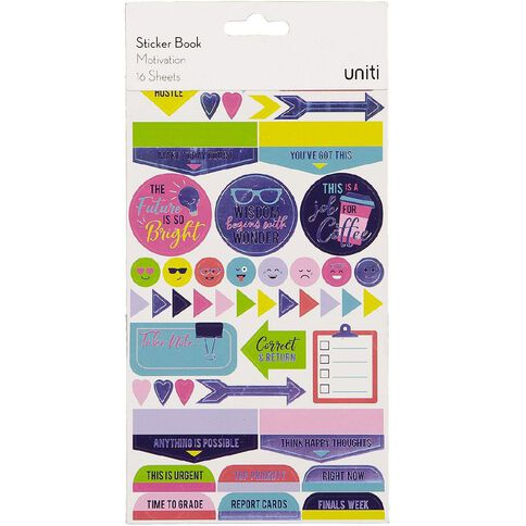 Uniti Sticker Book Motivation 16 Sheets