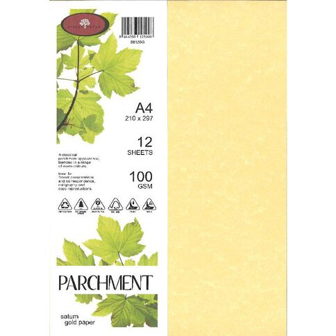 Direct Paper Parchment Paper 100gsm 12 Pack Saturn Gold A4