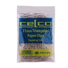 Celco Paper Clips Triangular 31mm 200 Pack Silver