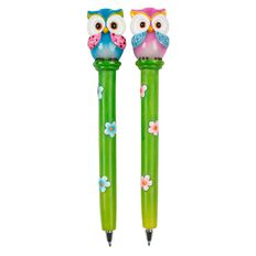 Novelty Pen Owls Pink/Blue Assorted