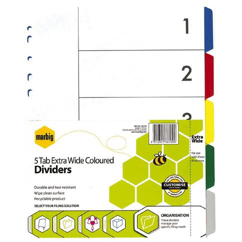 Marbig Dividers Polypropylene Extra Wide Colour 5 Tab A4