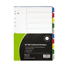 Office Supply Co 10 Tab Coloured Polyproplylene Dividers