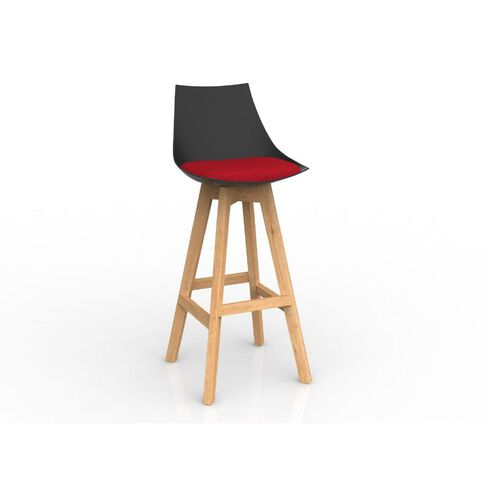 Luna Black Chilli Oak Base Barstool Red