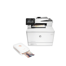 Buy 1 HP M477FDW Colour Laser Multifunction Printer, Get 1 HP Sprocket Printer White worth $149 for FREE