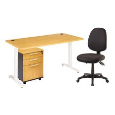 Jasper J Emerge 1500 Metal Leg Desk + Mobile Beech & Chair Bundle