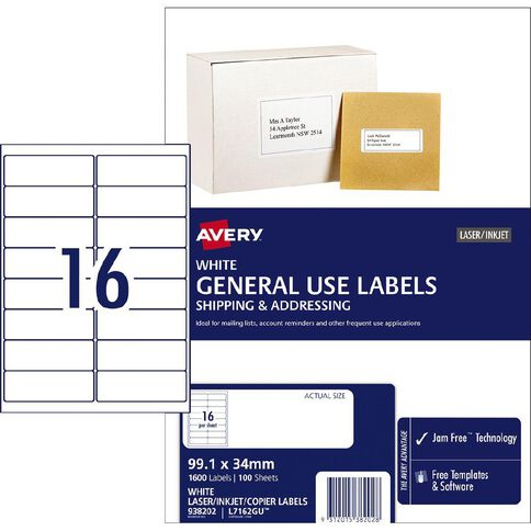 Avery General Use Labels White 1600 Labels