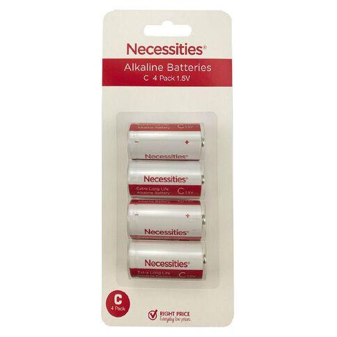 Necessities Brand Alkaline Batteries LR14 C 4 Pack