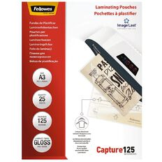 Fellowes Laminating Pouches A3 125 Micron 25 Pack
