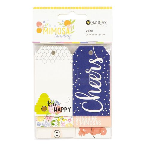 Rosie's Studio Mimosa Sunday Tags 24 Pack