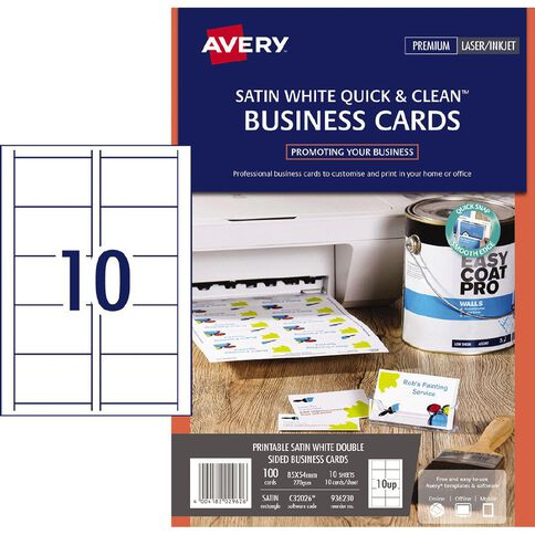 Avery satin finish business cards white 100 cards warehouse avery satin finish business cards white 100 cards reheart Gallery