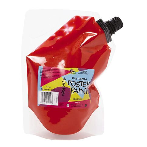 Fivestar Tempera Poster Paint Pouch Red 750ml Red 750ml