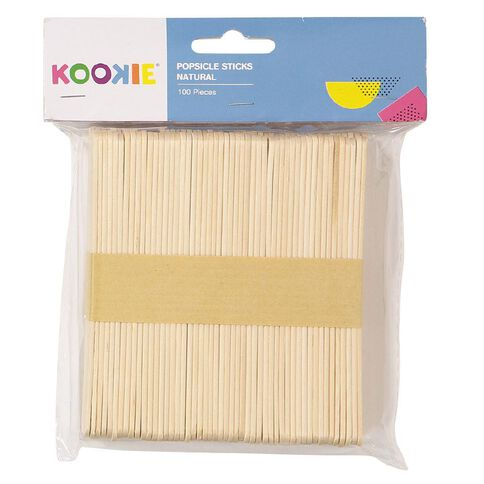 Kookie Popsicle Sticks Natural 100 Pack