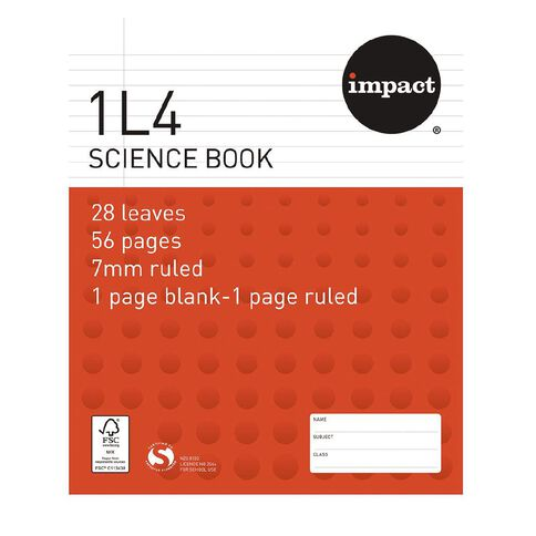 Impact Exercise Book 1L4 7mm Ruled Nature 28 Leaf Red