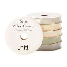 Uniti Satin Ribbon Neutrals 3m Assorted