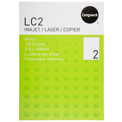 Impact Labels 100 Sheets A4/2 White