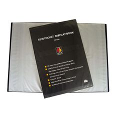 GBP Stationery Display Book Front Insert Cover 20 Pocket Black A2